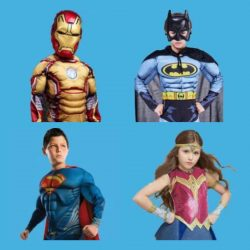 Ironman, Batman, Superman and Wonder Woman fancy dress costumes