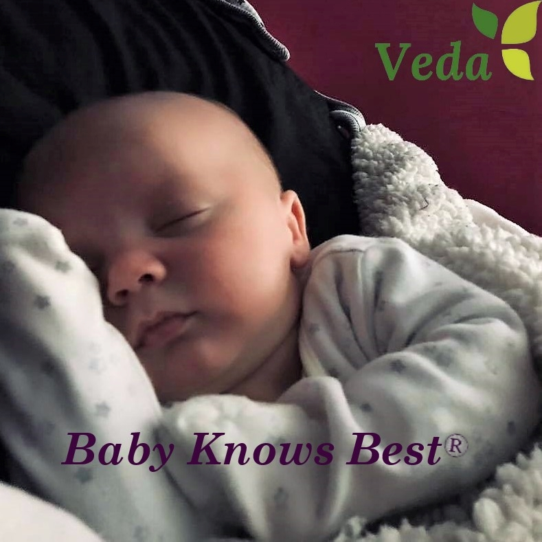 Baby sleeping with the words Baby Knows Best